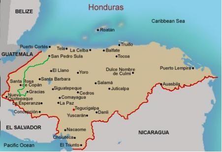 Mapa Honduras Tegucigalpa Honduras San Pedro Sula