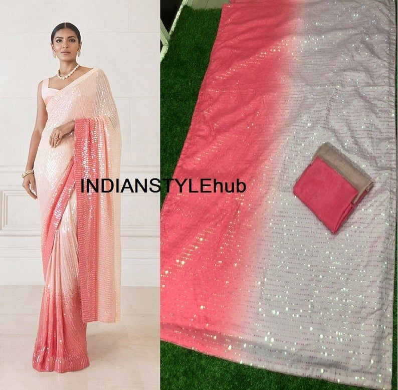 Beautiful Heavy sequins work sari blouse Indian Royal Partywear Rich Looking soft saree wedding wear bridesmaid gift event and partywear