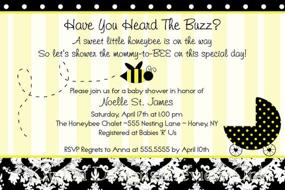 Mommy To Bee Ble Themed Baby Shower Or Diaper Party Digital Invitation Diy Printable File