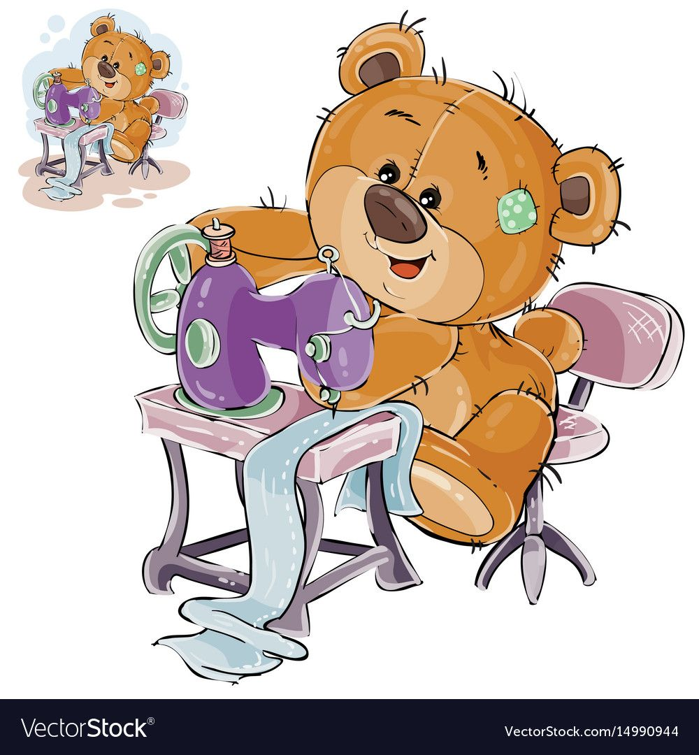 Vector Illustration Of A Brown Teddy Bear Tailor Sews Something On A Sewing Machine Needlework Prin Bear Illustration Sewing Stuffed Animals Brown Teddy Bear