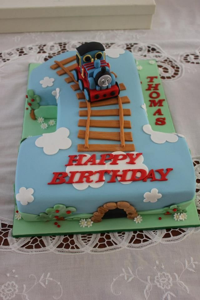 Swell Thomas The Tank Engine First Birthday Cake With Images Thomas Personalised Birthday Cards Sponlily Jamesorg