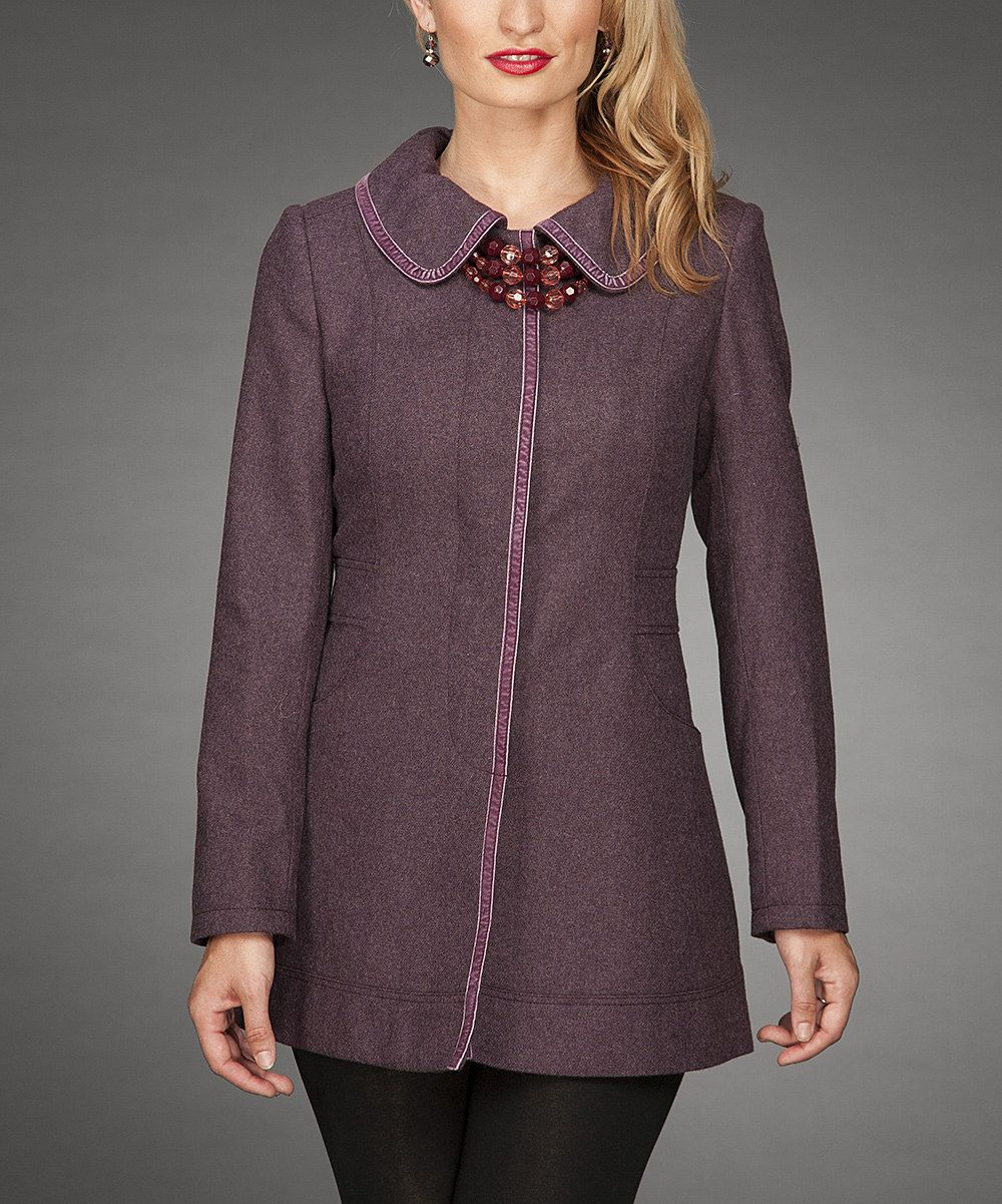 Look at this Firmiana Purple Wool-Blend Jacket on #zulily today!