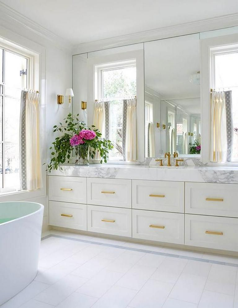 Blue And White Bathroom With Gold Accents Blue Bathroom Interior Bathroom Furniture Bathrooms Remodel