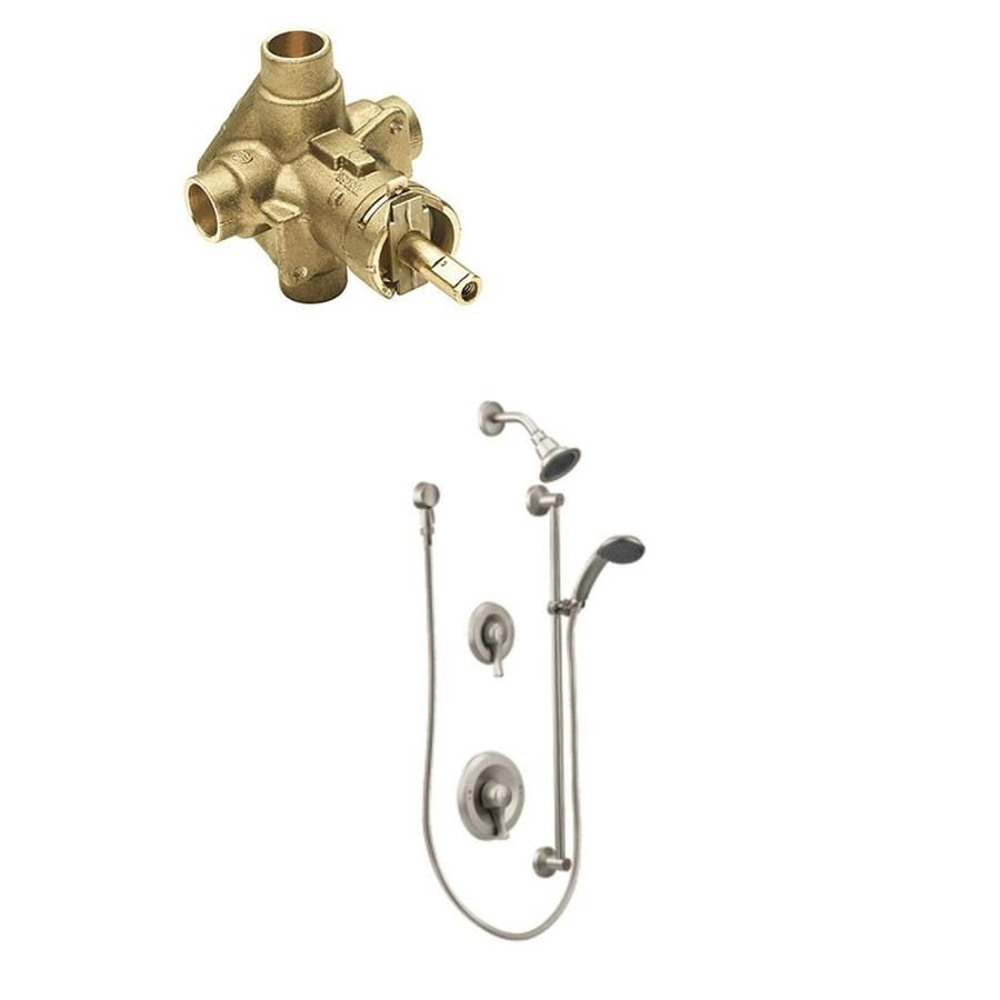 Moen Commercial Brushed Nickel 2 Handle Shower Faucet With Valve