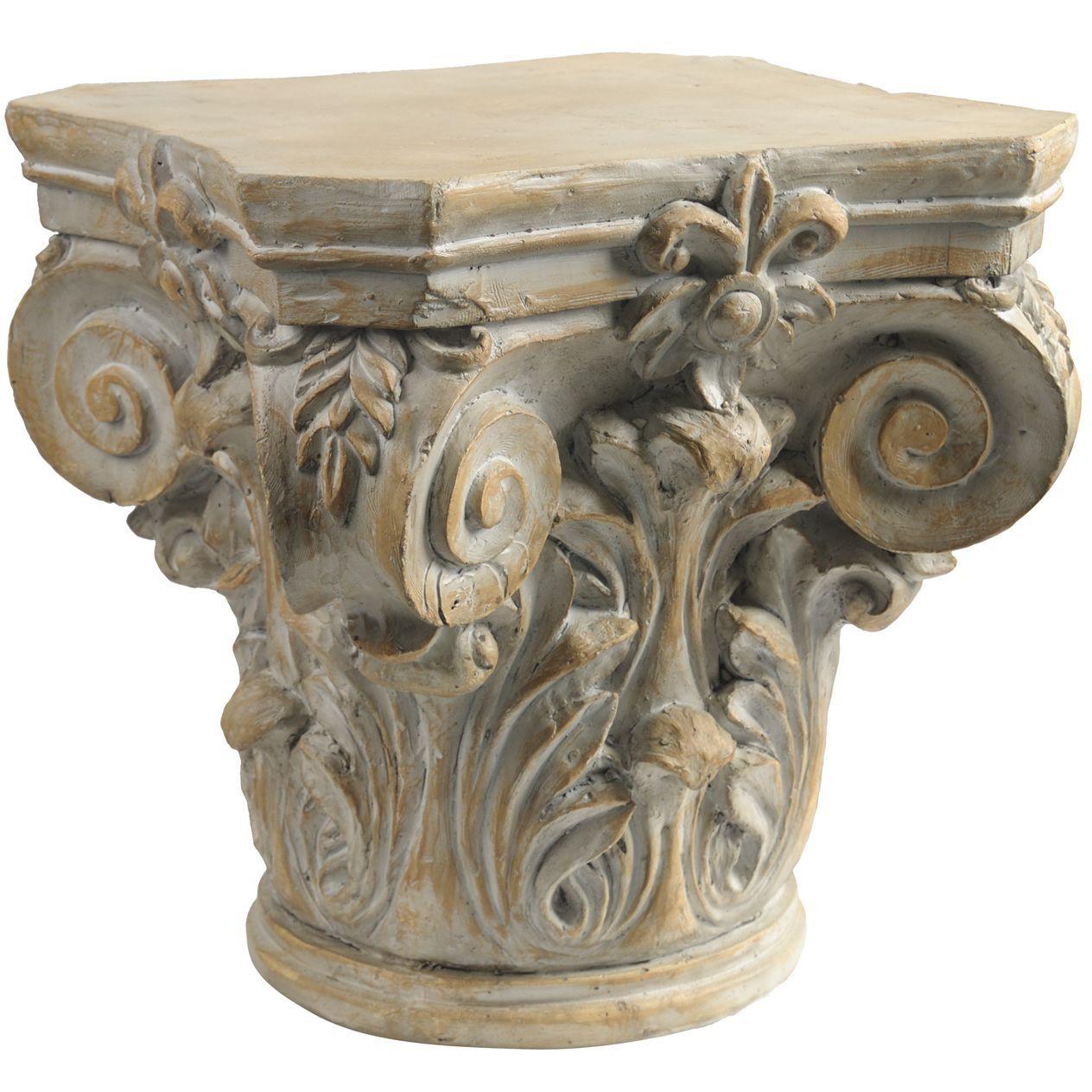 Beige Ceramic Roman Column Decorative Pedestal Roman