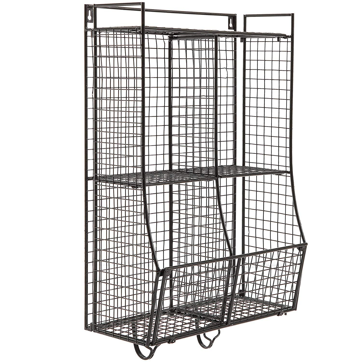 Wall Mounted Collapsible Black Metal Wire Mesh Storage Basket Shelf Organizer Rack W 2 Hanging Hooks Shelf Baskets Storage Metal Wall Basket Basket Shelves