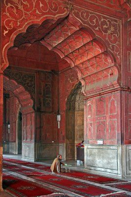 Diverse Photos of Architecture - Quiet prayers in the prayer hall of the Jami (Friday) Mosque, Old Delhi. Photo by dinah1