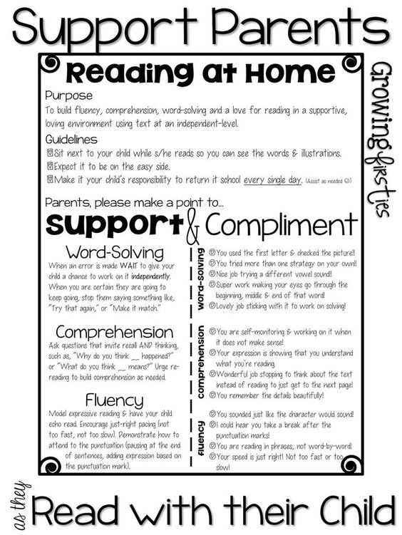Parent Support For At Home Reading  Back To School Parent Input