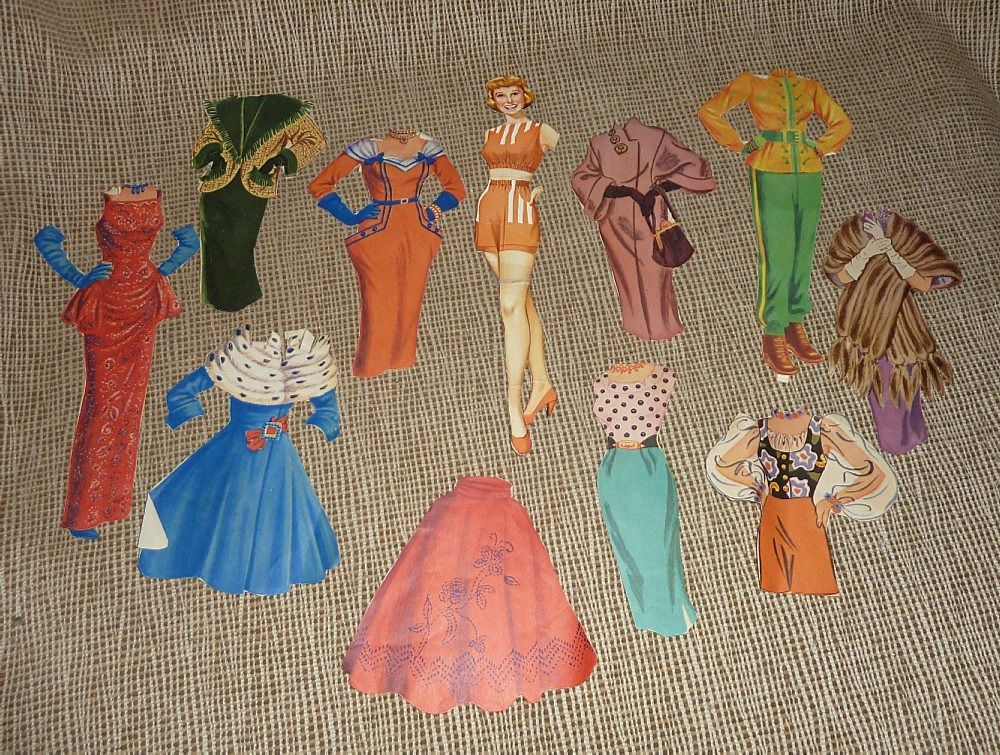 Vintage 1940's Movie Star Paper Doll and Dresses from pitkin on Ruby ...