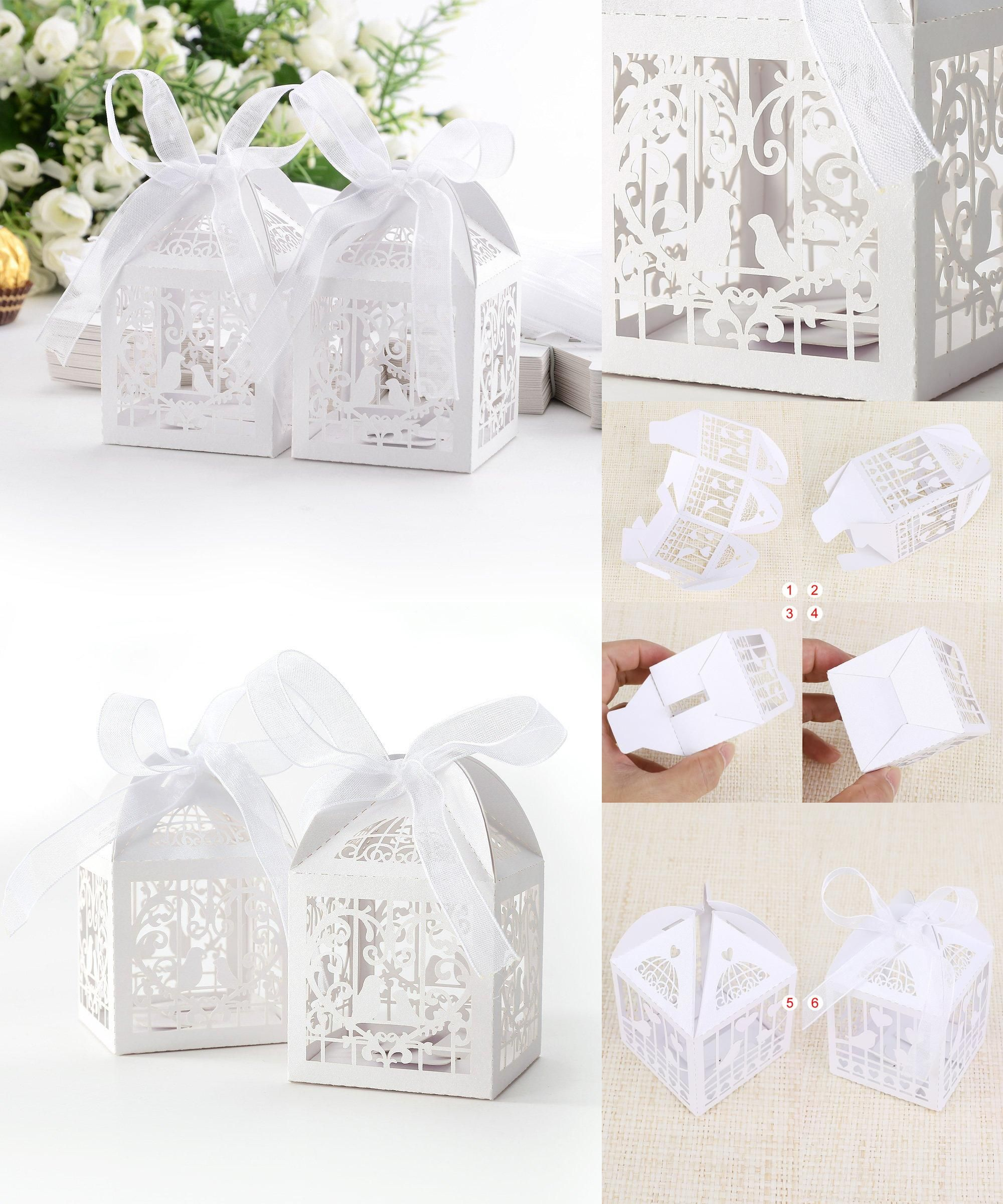 Visit to Buy] SZS Hot 50x Dragees Box Candy Heart White Bird Cage ...