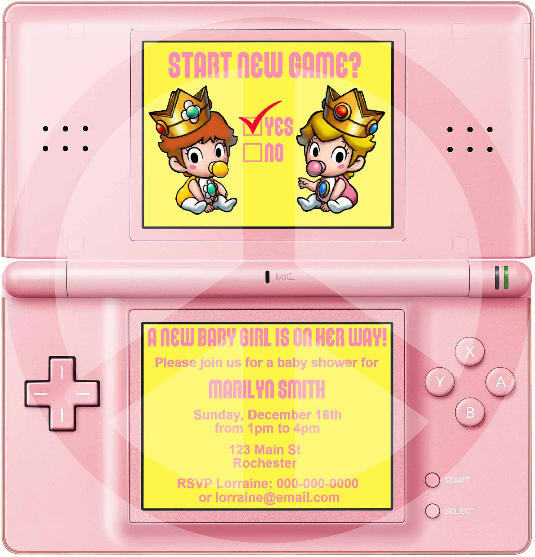 Baby Princess Peachprincess Daisy Nintendo Ds Showerparty Invitation (Jpeg Printable)