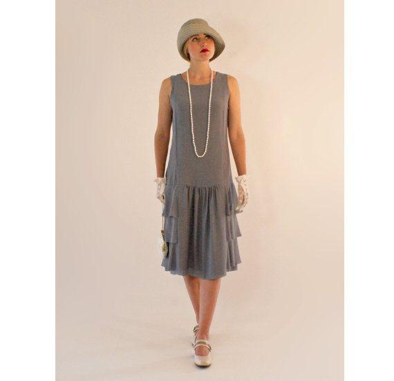 ee84b4eae2e Grey drop waist dress with tiered skirt