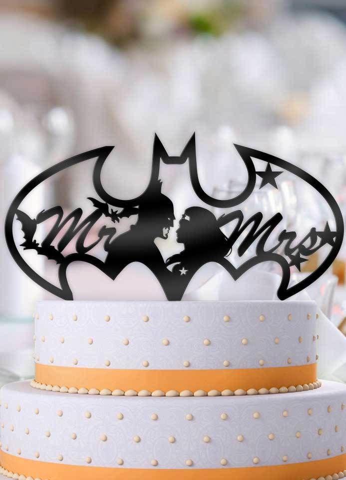 Batman And Wonder Woman Bat Logo Mr Mrs Wedding Cake Topper