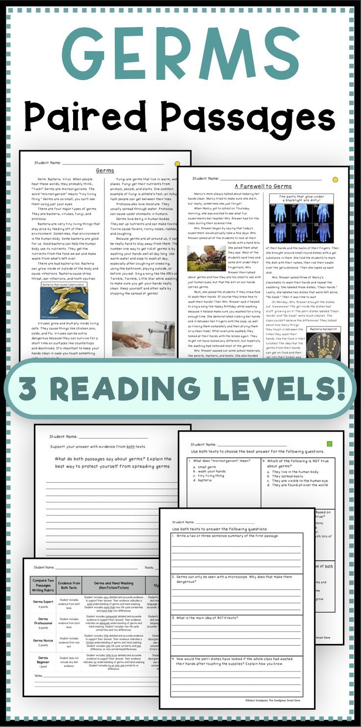 Germs Paired Passages/Texts Common core reading