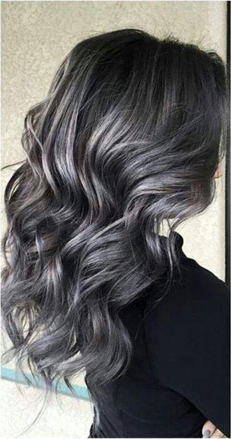 Soft Smokey Silver Grey Highlights On Dark Hair Grey Hair Color Silver Dark Hair With Highlights Gray Hair Highlights