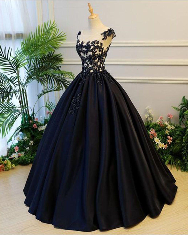 addb7ad8cdc9 Black satin cap sleeves long evening dress