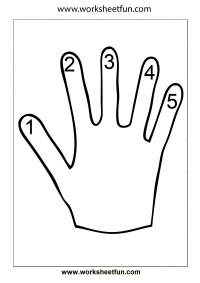 Hand Worksheet – Finger Counting 1-5 – Number Counting