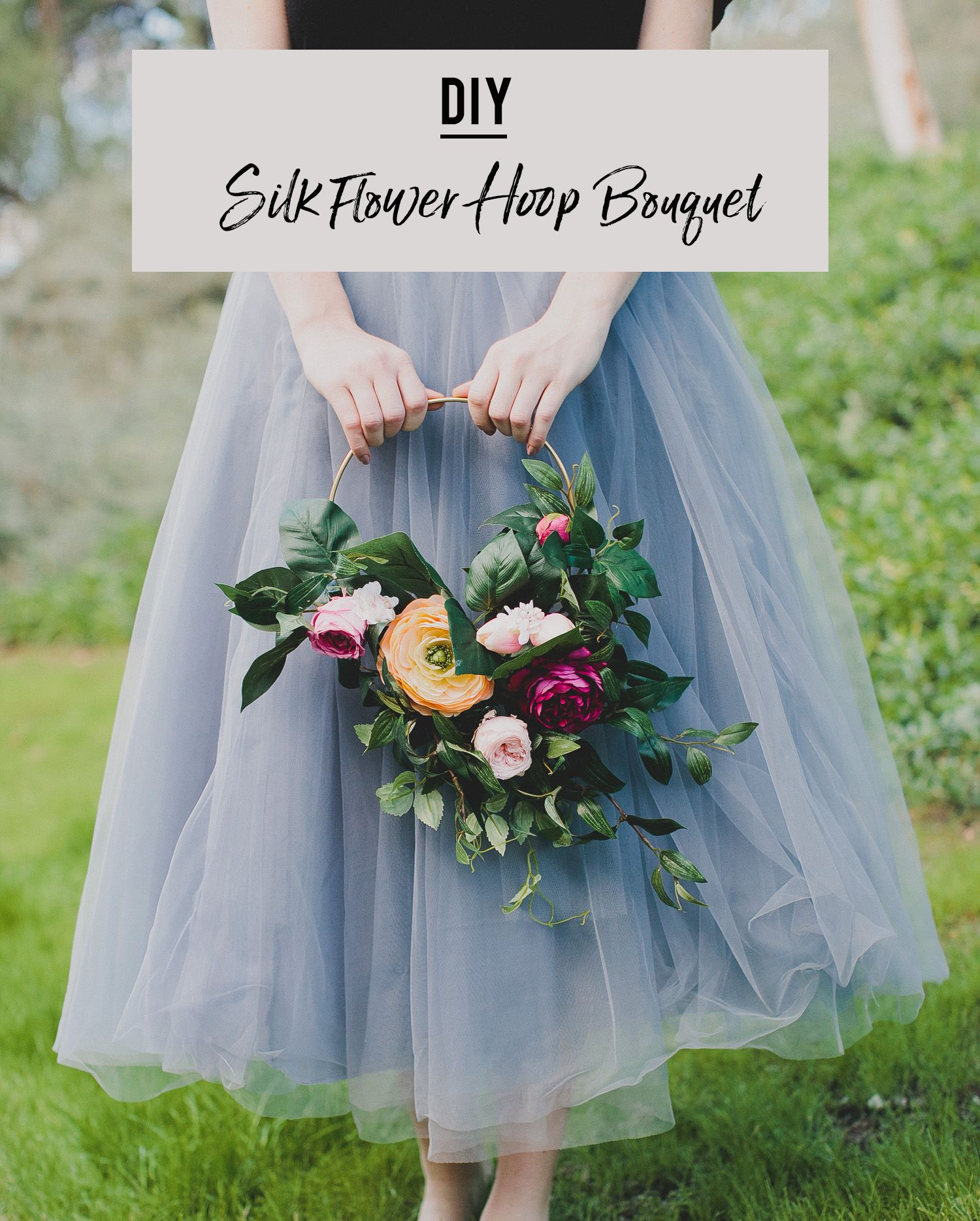 Making A Wedding Bouquet With Silk Flowers: How To DIY A Silk Flower Hoop Bouquet