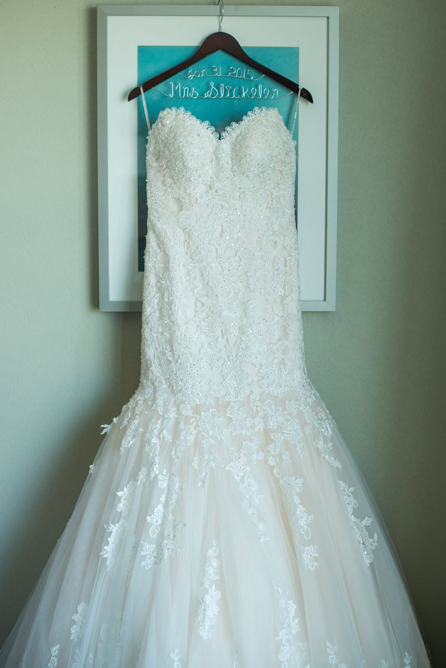 Ivory, Beaded Lace Strapless Wedding Dress on Customized Wedding ...