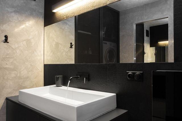 Badezimmer texturierte Wand-Putz-Optik Ideen Wanddesign Bad - putz im badezimmer