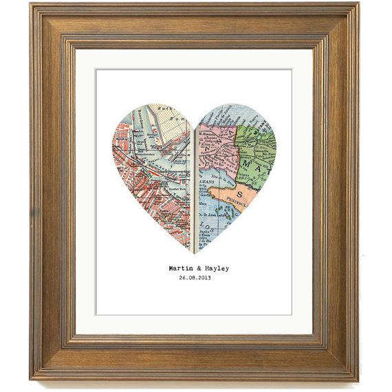 Personalized Map Print Custom Wedding Gift Heart Map Print