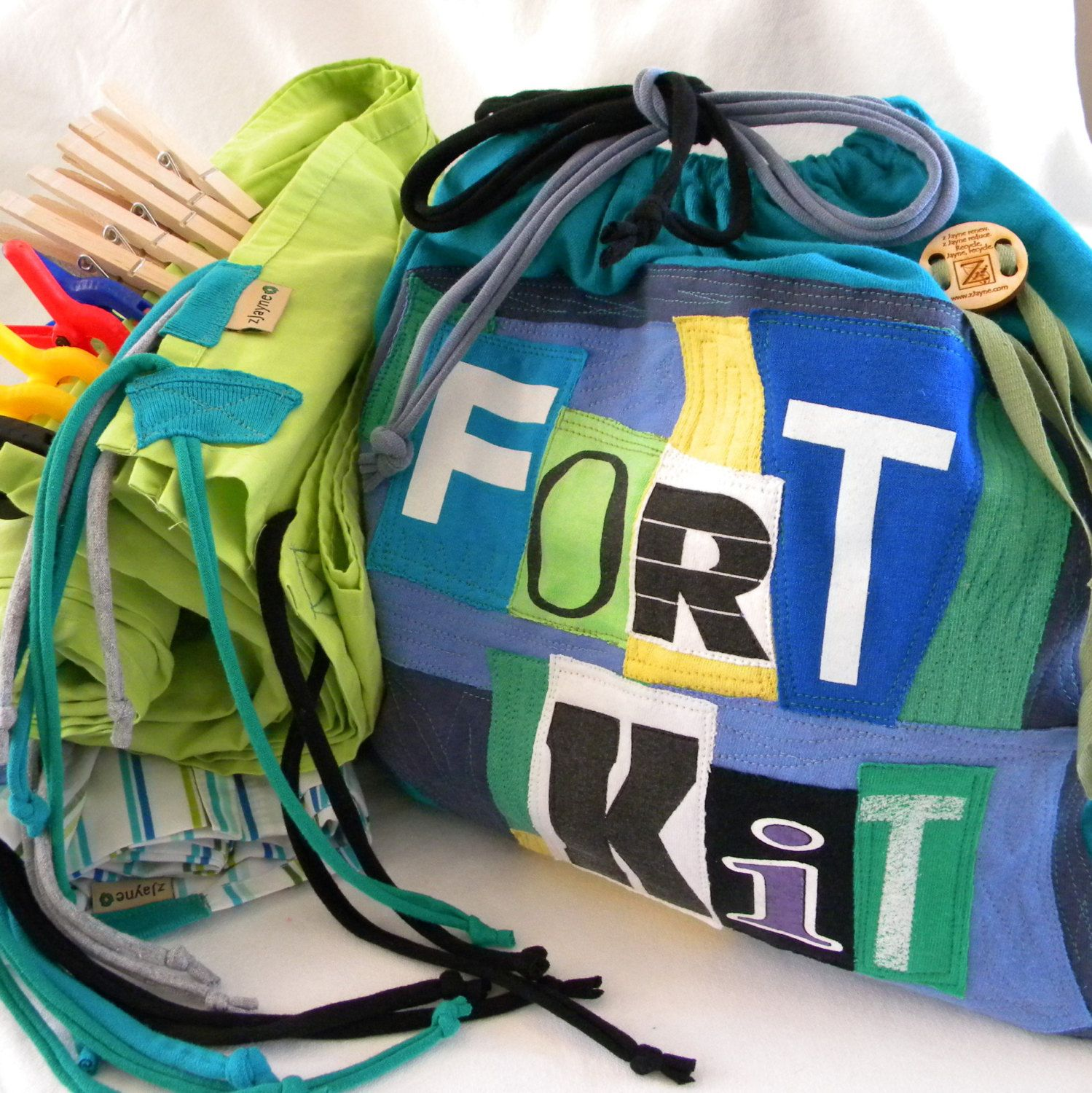 Build A Fort Kit Upcycled Drawstring Bag SET Personalized