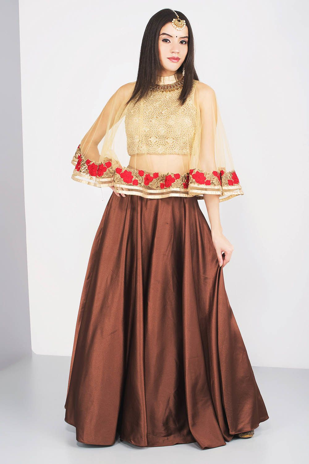 695d1fb236ba0 Rent MALVIKA TALWAR - Cape Style Crop Top And Skirt