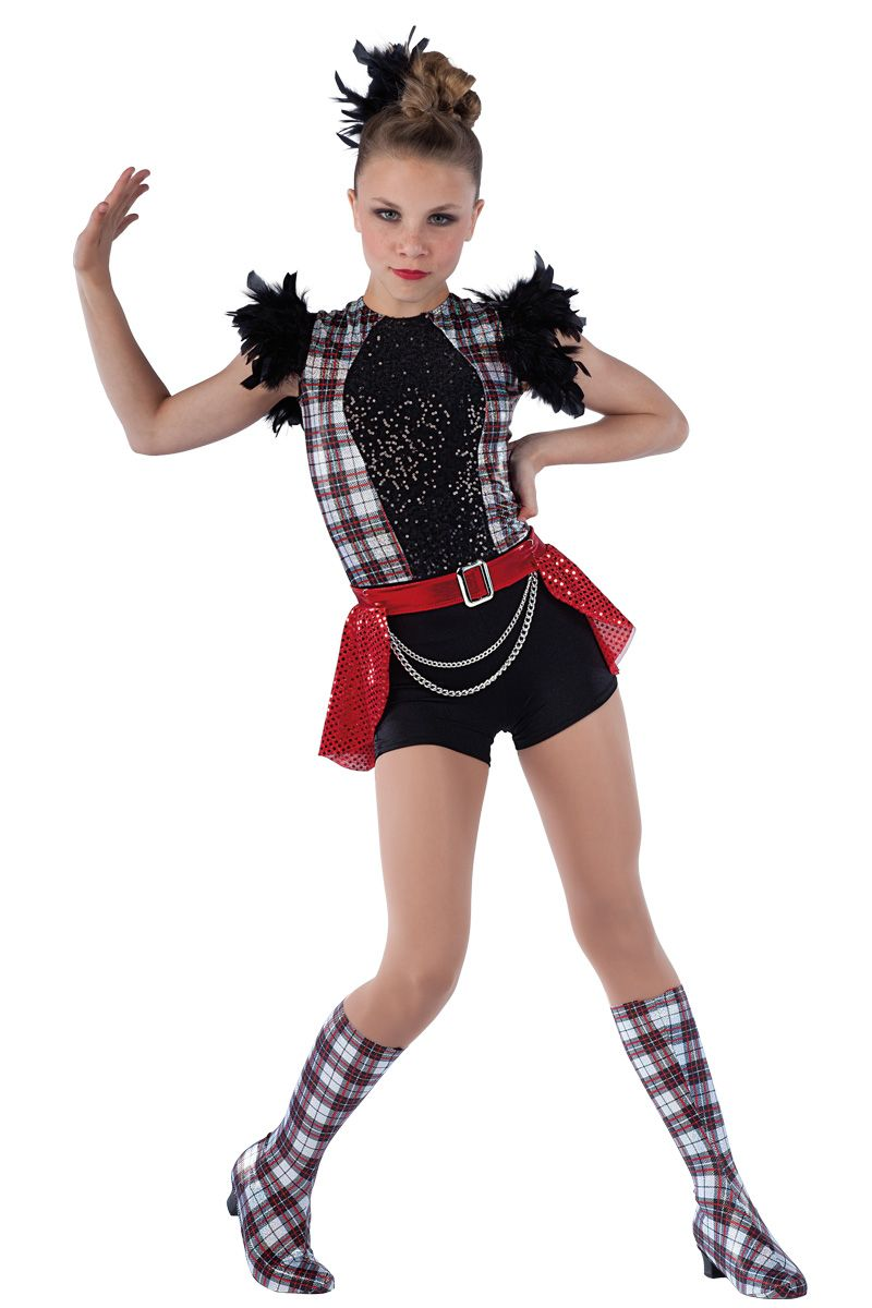 b7efb770f27e 15280 Troublemaker | Tap Jazz Funk Dance Costumes | Dansco 2015 | Plaid  foil printed spandex and black spandex short unitard with black sequin on  spandex ...