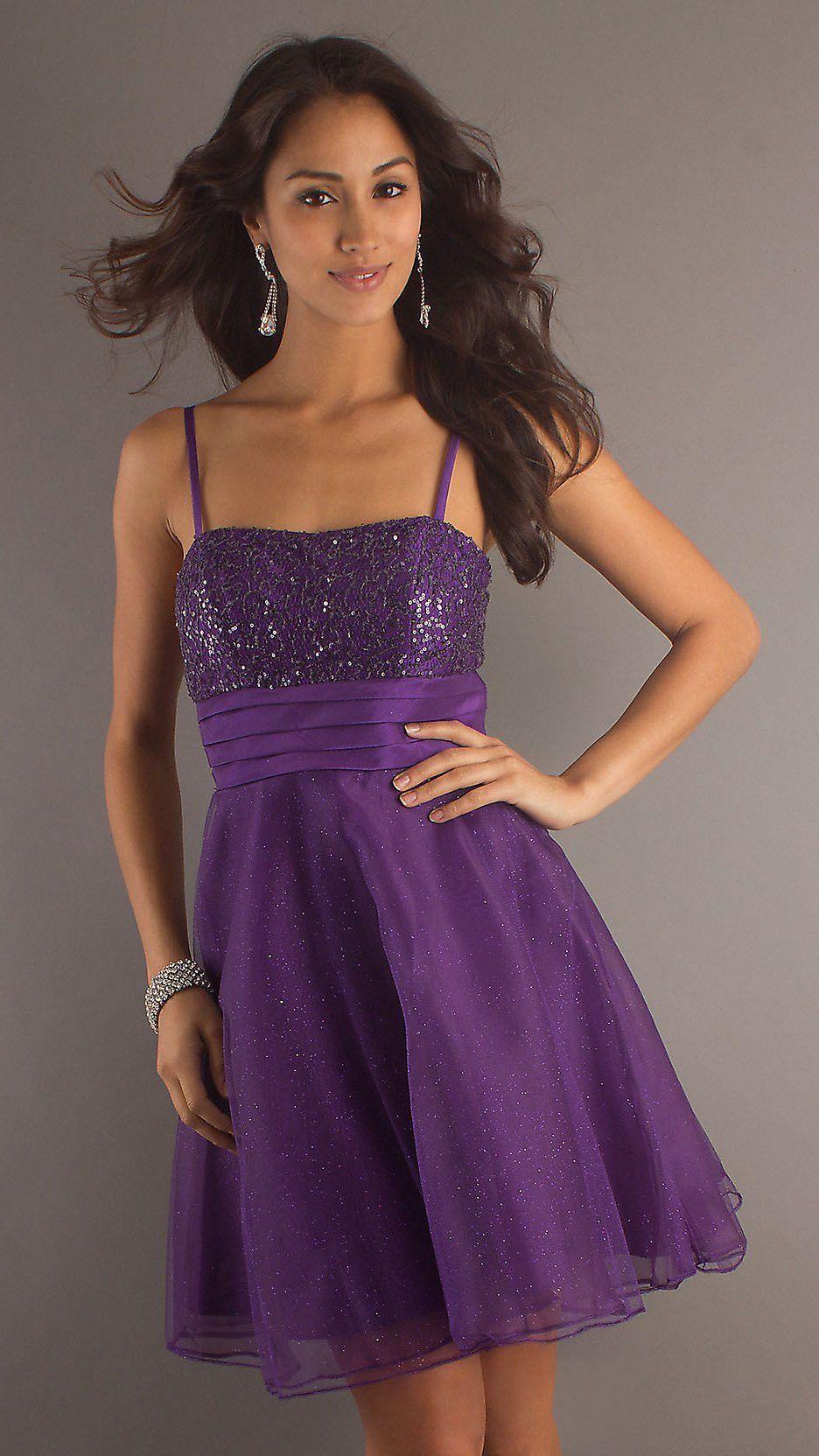Short Purple Dama Dress Spaghetti Strap A Line Skirt Glitter $87.99 ...