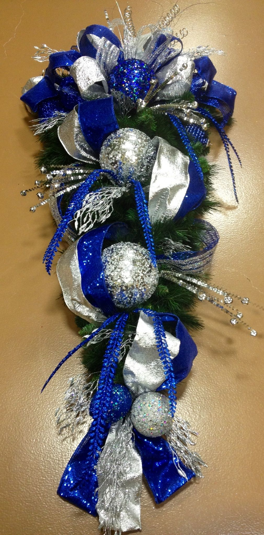 Christmas large teardrop for the front door in royal blue and silver
