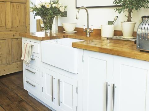 Küche weiß mit Holz | kitchen | Pinterest | {Küchenzeile weiss landhaus 77}