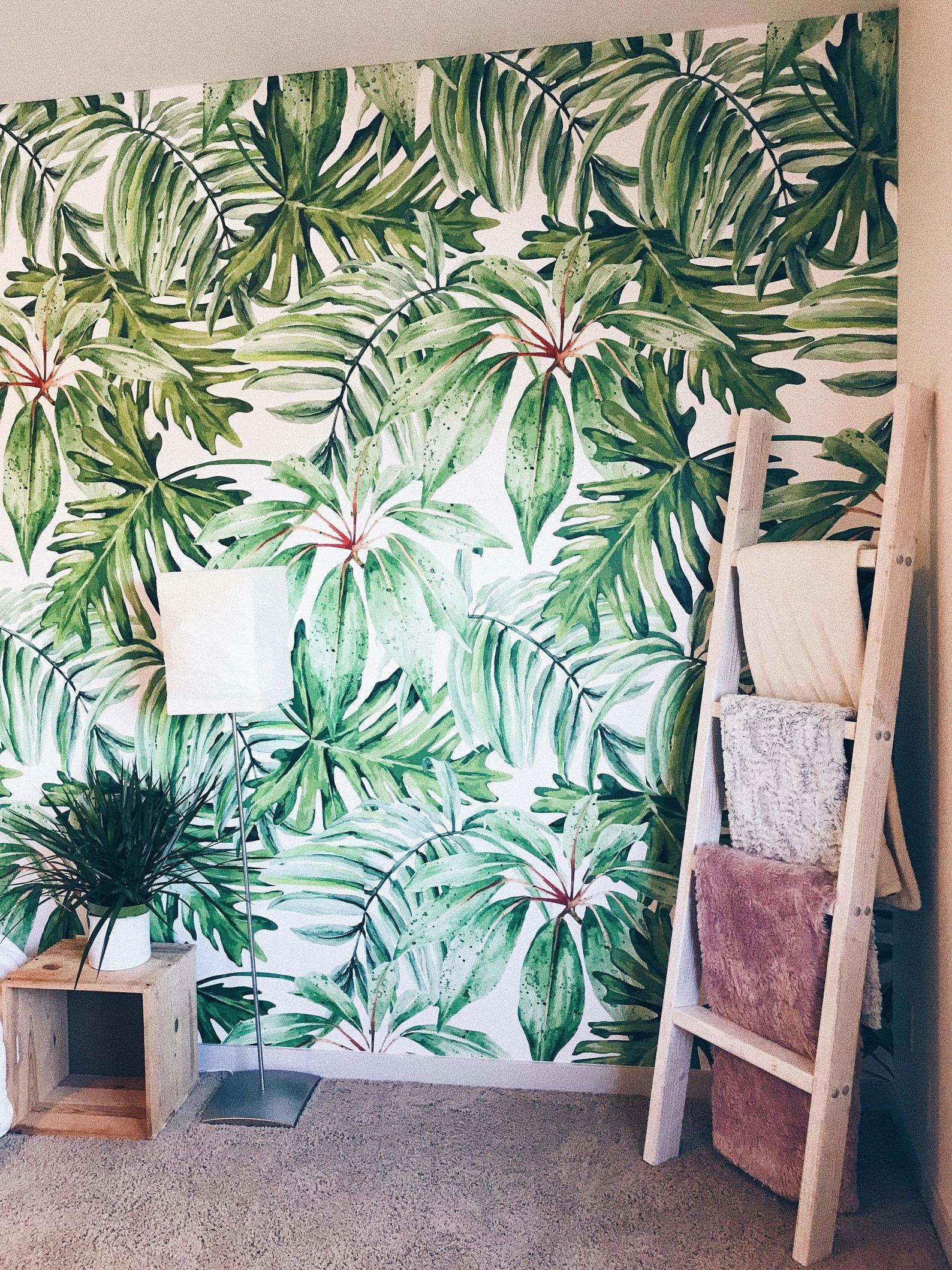 Light Banana Leaves Removable Wallpaper Banana Leaf Etsy In 2021 Wallpaper Watercolor Walls Mural
