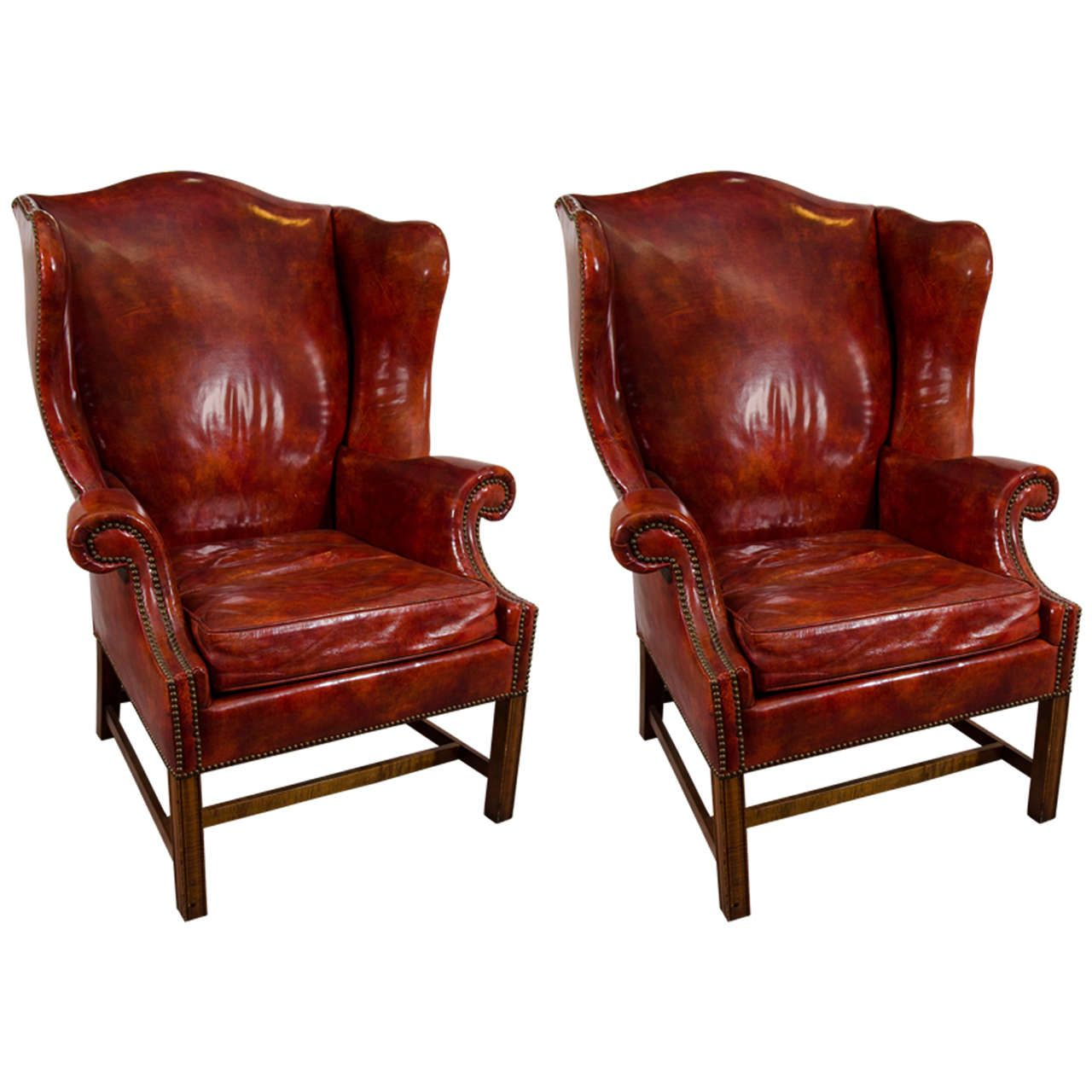 Genial Midcentury Pair Of Burgundy Leather Wing Chairs By Baker | From A Unique  Collection Of Antique And Modern Wingback Chairs At ...