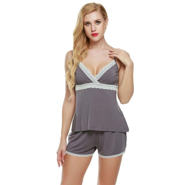 Pajamas sets Cotton Top and Shorts Lace Ladies Nightgown #shortslace