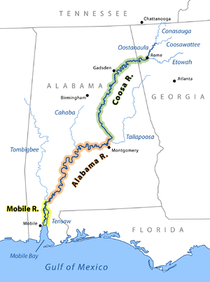 ROUTE OF THE COOSA RIVER TO THE GULF.  CC BY-SA 3.0. Original: Pfly, using a base map template made with US Federal public domain GIS data; Version 3: John Lambert - This is a modification of File: MobileAlabamaCoosa2.png, which is in Wikimedia under GFDL license.