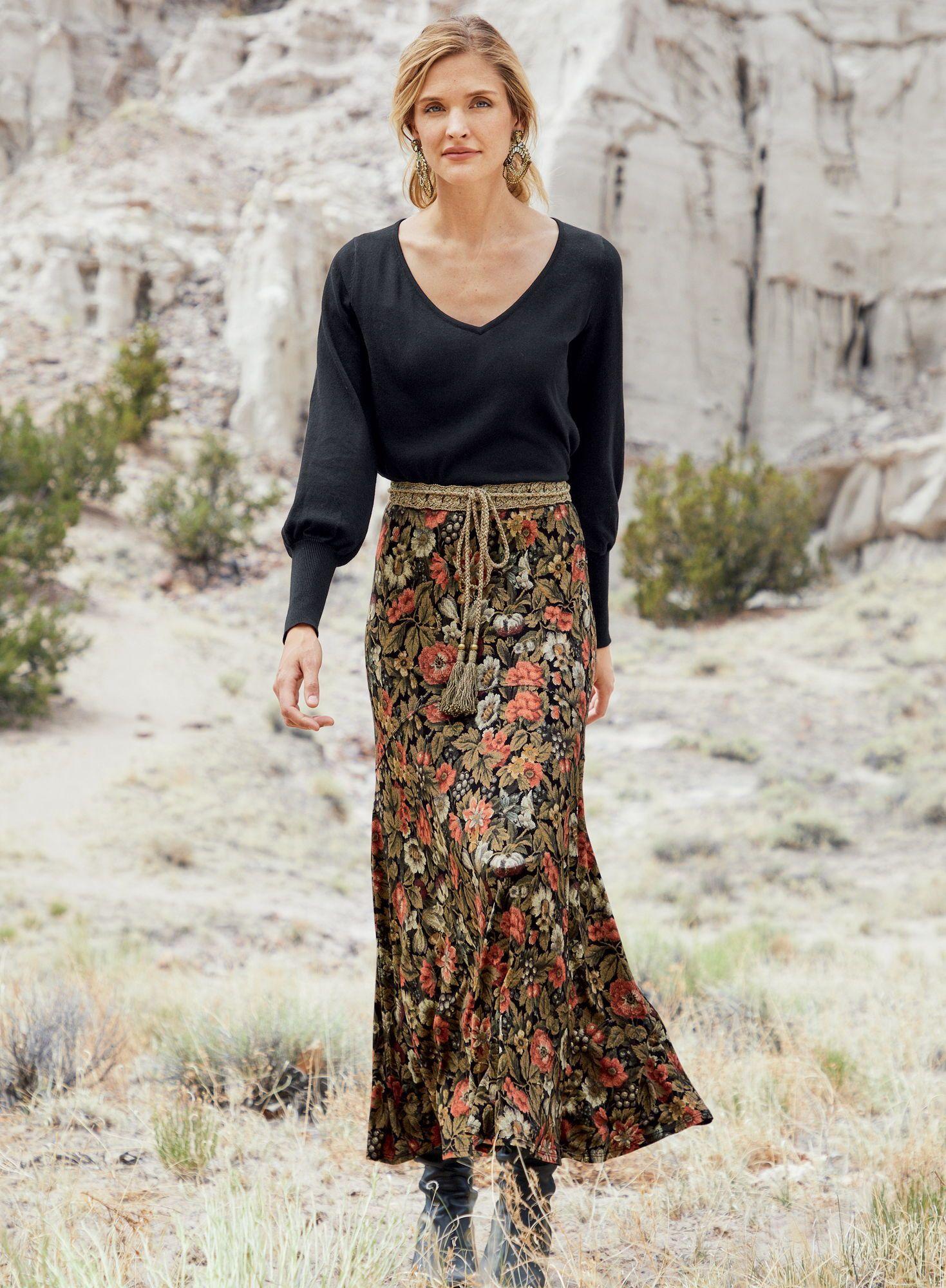 Wallpaper Maxi Skirt   Peruvian Connection   Boho skirt outfit ...