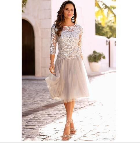 Newest Short Mother Of The Bride Dresses Lace Tulle Knee Length 3/4 Long Sleeves Mother Bride Dresses Short Prom Dresses #groomdress