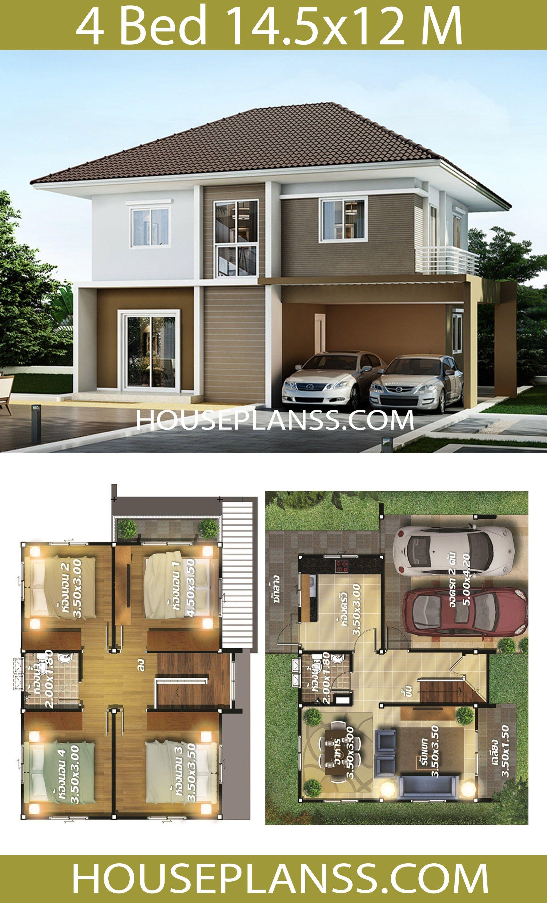 House Plans Idea 14 5x12 With 4 Bedrooms House Plans 3d Model House Plan Home Design Plans Bungalow House Design