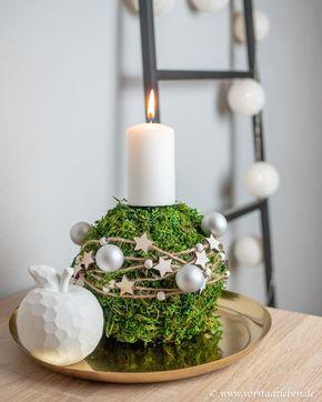 Mooskugel als Adventsgesteck - DIY Deko für die Vorweihnachtszeit #dekoweihnachtentisch