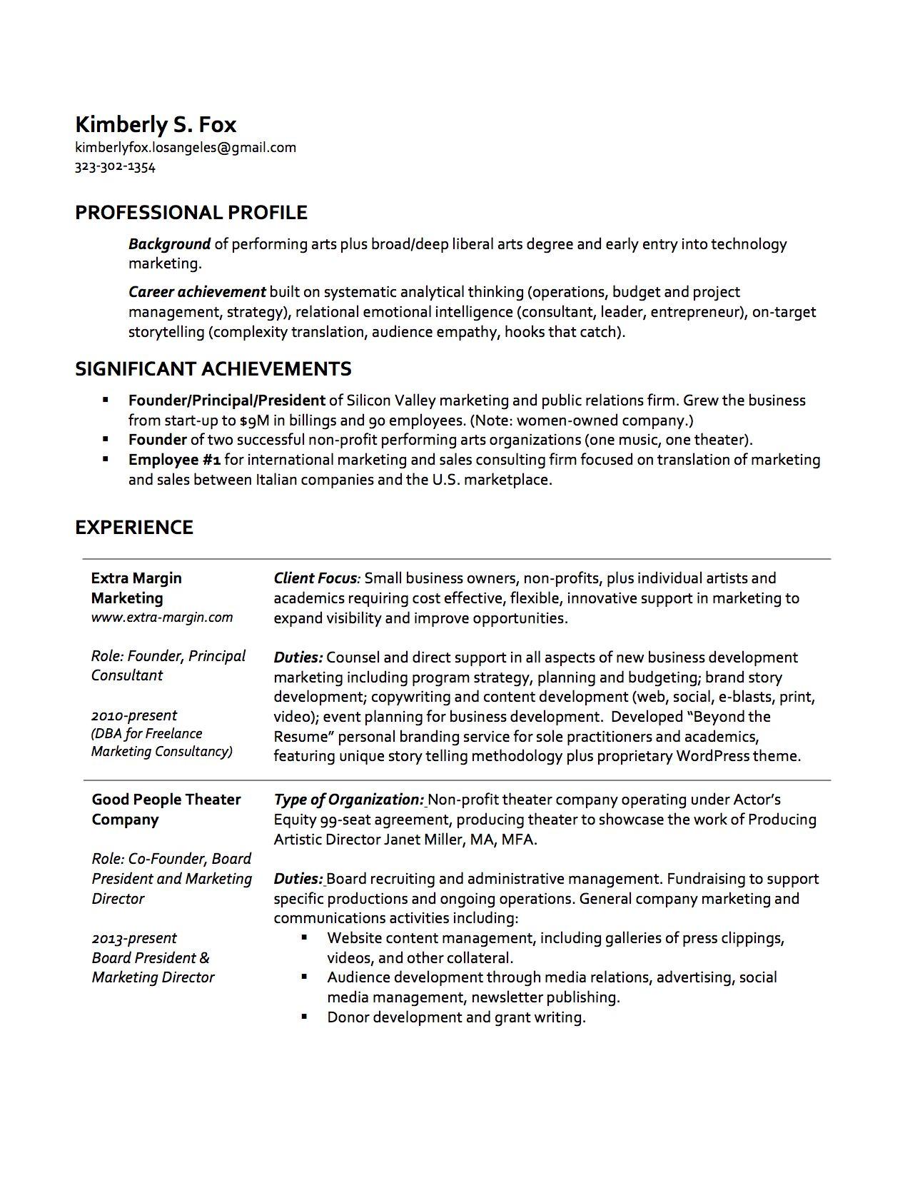 Resume Page 1 Marketing Technology Job Search Performance Art