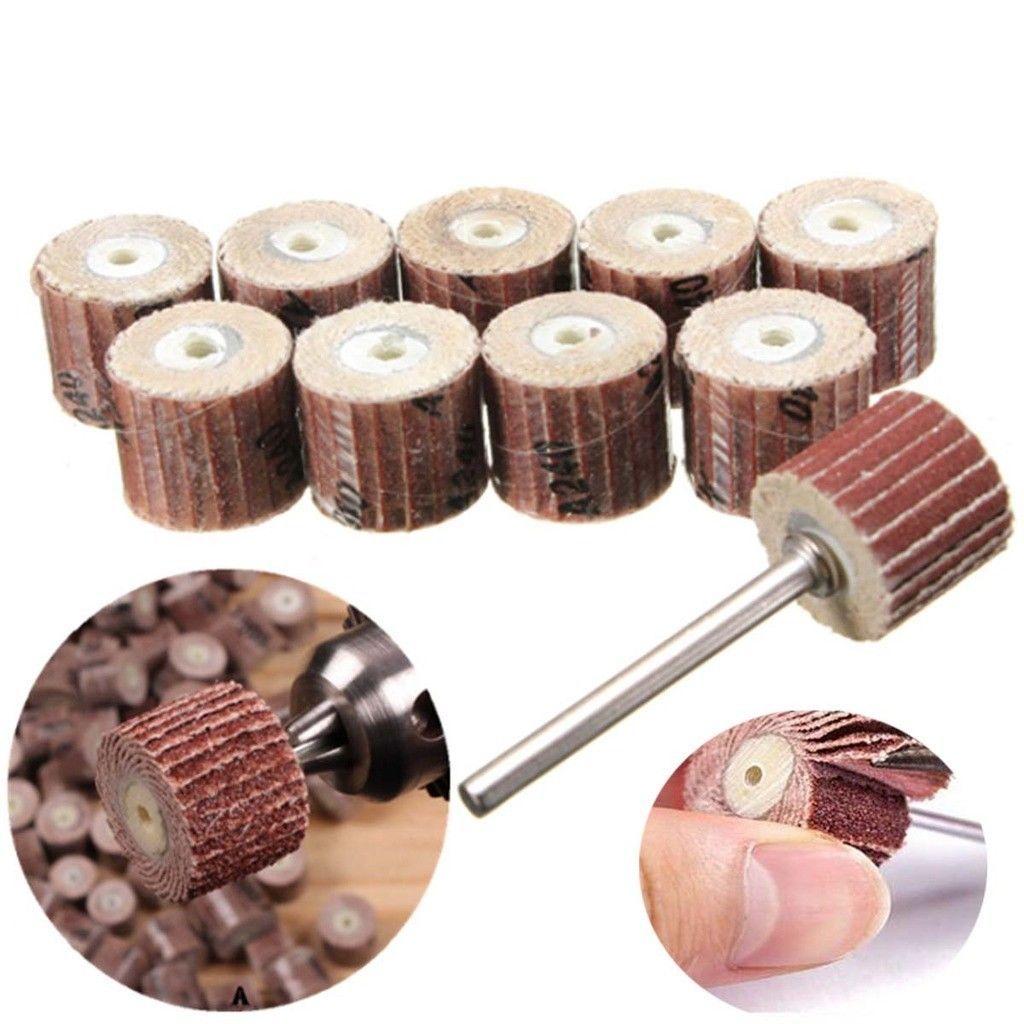 """10Pcs 240# Grit Sanding Sandpaper Flap Wheel Set 3//8/"""" for Rotary Tool"""