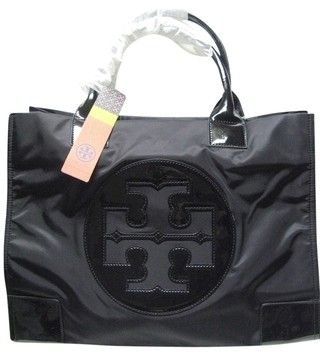 4710f93a88e Get one of the hottest styles of the season! The Tory Burch Ella Nylon  Black Tote Bag is a top 10 member favorite on Tradesy.