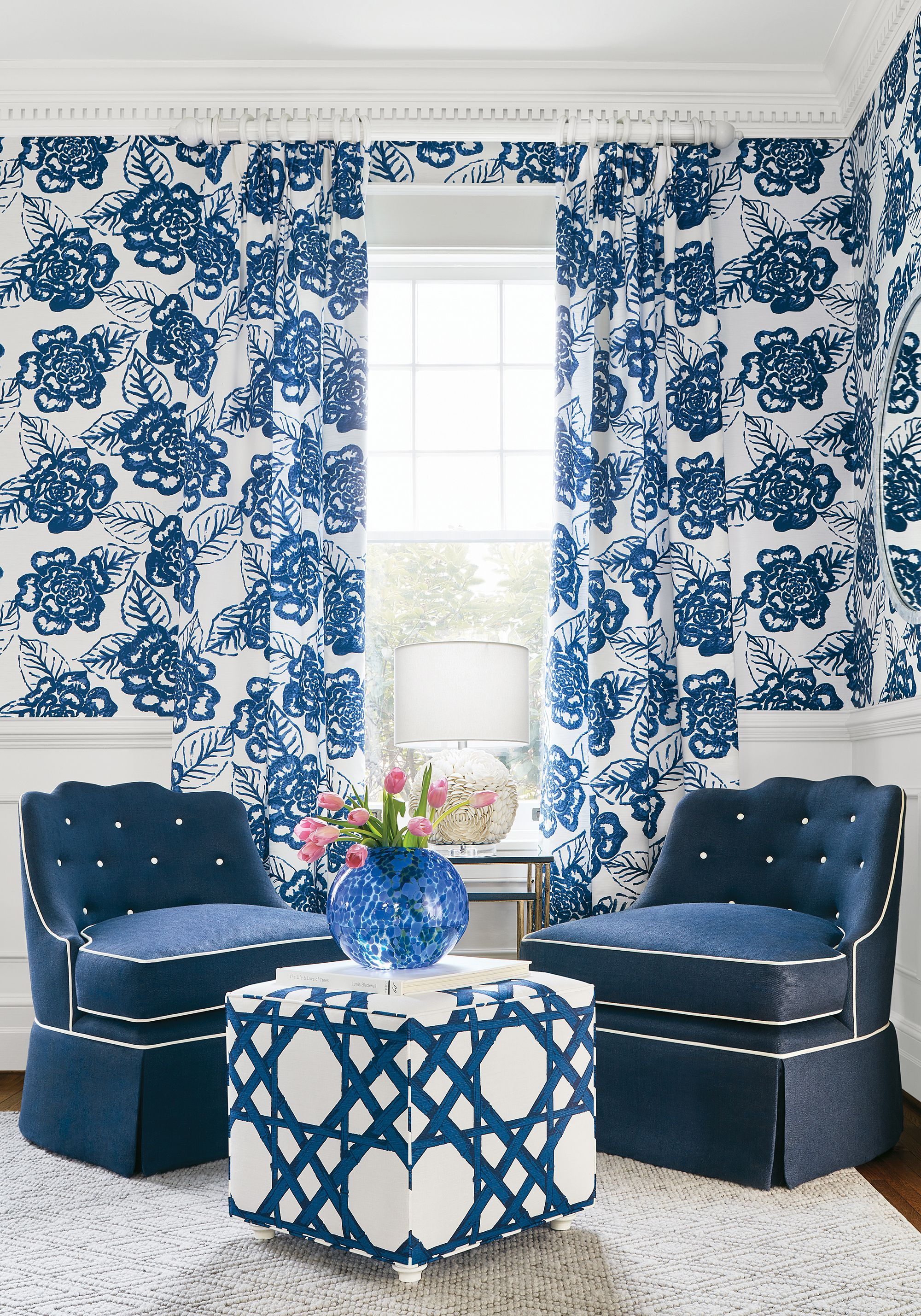 Awe Inspiring Fair And Square Ottoman In Cyrus Cane Printed Fabric In Navy Alphanode Cool Chair Designs And Ideas Alphanodeonline