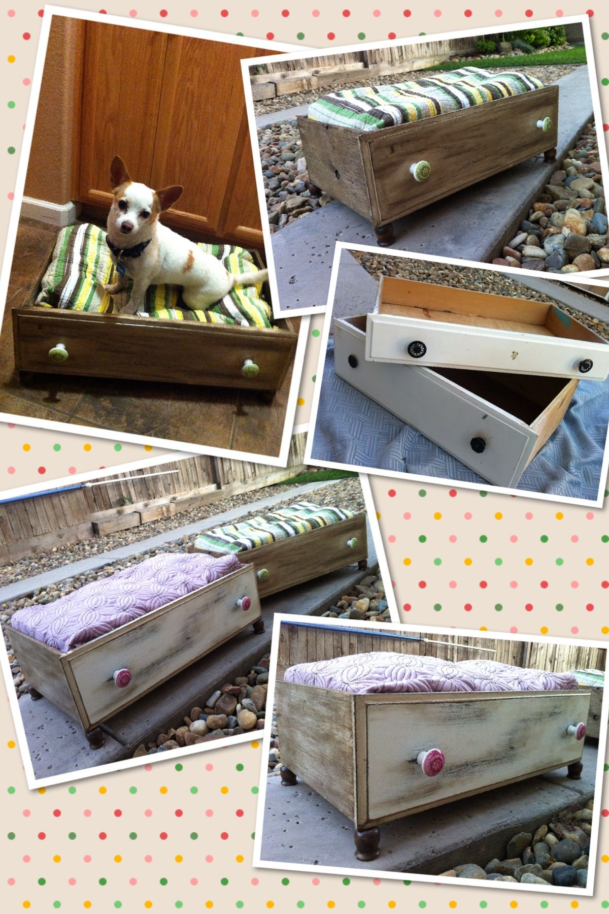 Doggie beds made from old dresser drawers Old dresser