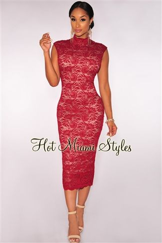 Wine Lace Nude Illusion Mock Neck Midi Dress.