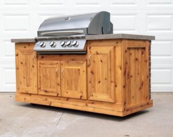 Bbq island with 32 barbecue grill cedar cabinets and for Barbecue islands for sale