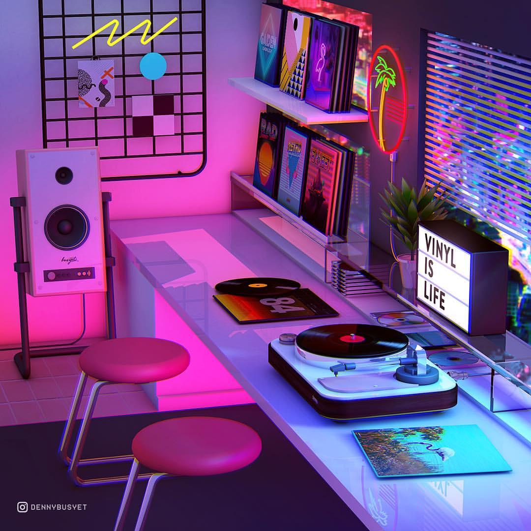 Apartment | Retro bedrooms, Neon room, Neon bedroom