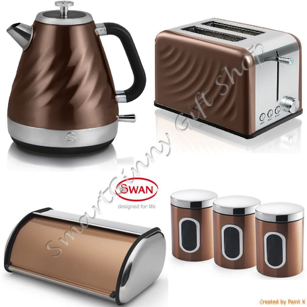 Matching Kitchen Appliances Luxury Copper Swan Set Kettle 2 Slice Toaster 3 Canisters