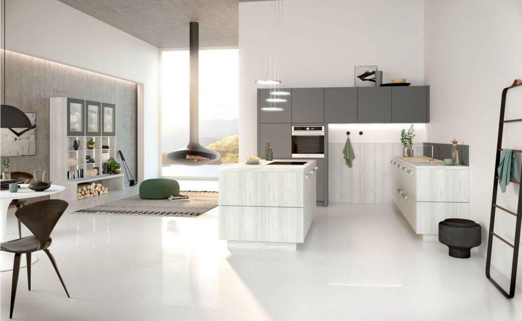 16+ Helle Ideen Ein Wohnzimmer mit offener Küche12 in 2020 ...