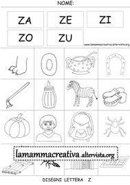 Disegni Parole Con Lettera Z Italiano Pinterest